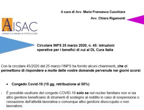 """Chiarimenti sul Decreto """"Cura Italia"""": Circolare INPS 25 marzo 2020, n. 45"""
