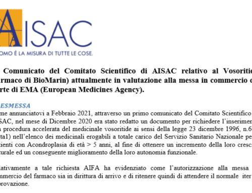 2° Comunicato del Comitato Scientifico di AISAC su Vosoritide